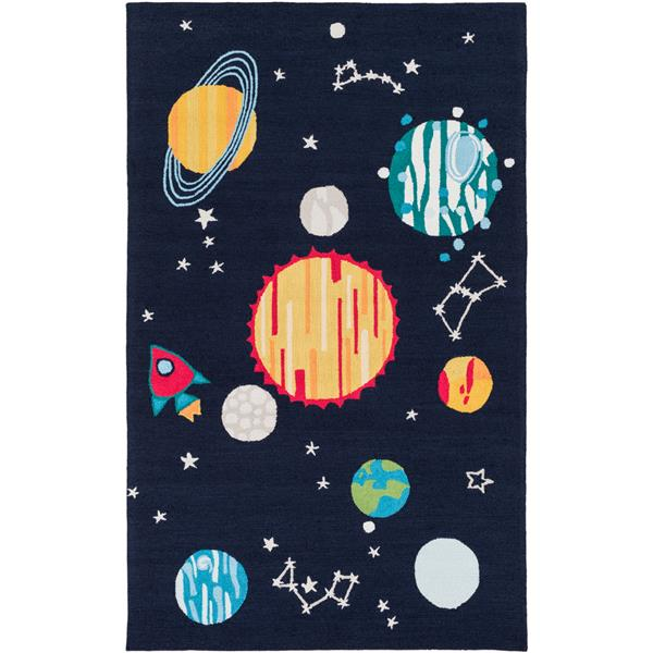 Surya Peek-A-Boo Transitional Area Rug - 7-ft 6-in x 9-ft 6-in - Rectangular - Navy