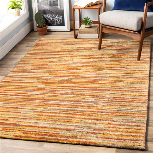 Surya Quartz Modern Area Rug - 3-ft x 5-ft - Rectangular - Burnt Orange