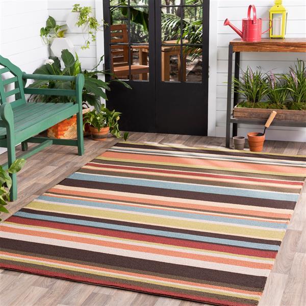 Surya Rain Indoor/Outdoor Area Rug - 8-ft - Round - Dark Brown