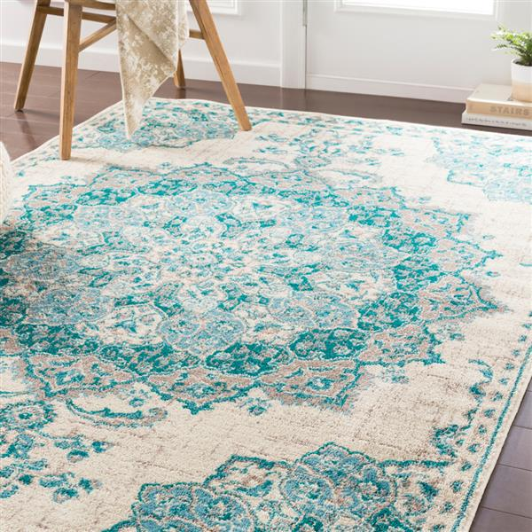 Surya Paramount Updated Traditional Area Rug - 6-ft 7-in x 9-ft 6-in - Rectangular - Teal