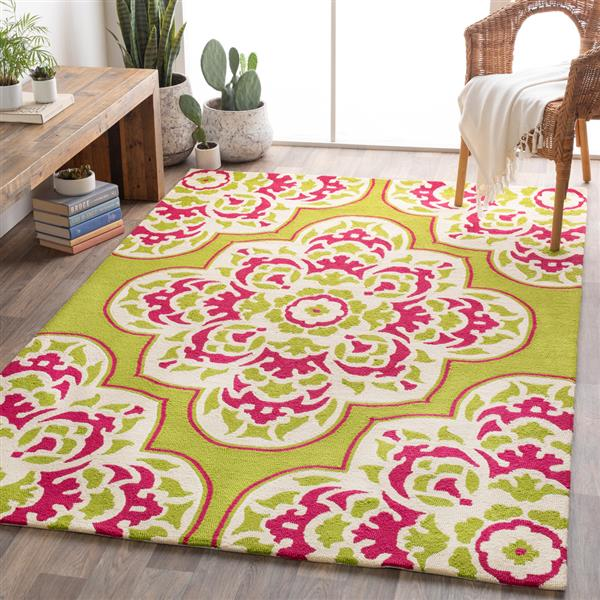 Surya Rain Indoor/Outdoor Area Rug - 8-ft - Round - Lime