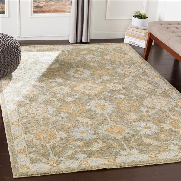 Surya Panipat Updated Traditional Area Rug - 9-ft x 12-ft - Rectangular - Olive