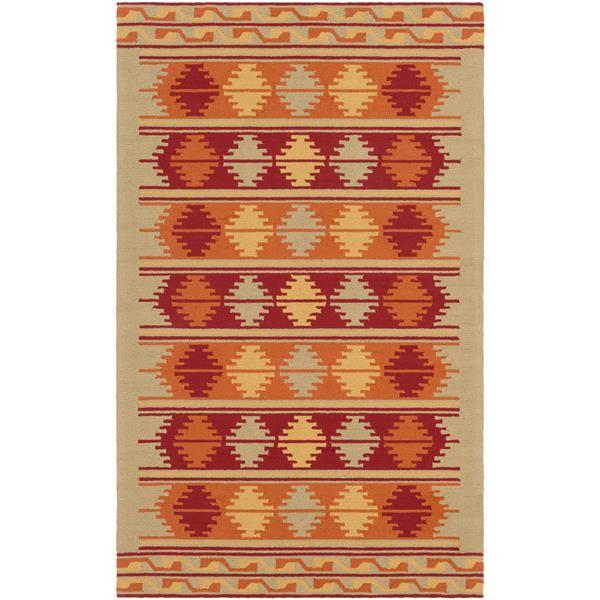 Surya Rain Indoor/Outdoor Area Rug - 3-ft x 5-ft - Rectangular - Moss/Orange