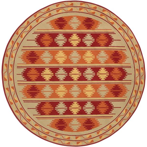 Surya Rain Indoor/Outdoor Area Rug - 8-ft - Round - Moss/Orange