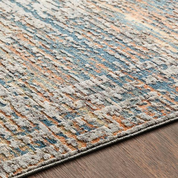 Surya Presidential Modern Area Rug - 3-ft 3-in x 5-ft - Rectangular - Blue/Orange