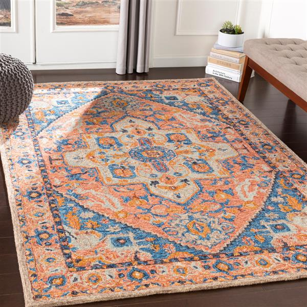 Surya Panipat Updated Traditional Area Rug - 9-ft x 12-ft - Rectangular - Peach