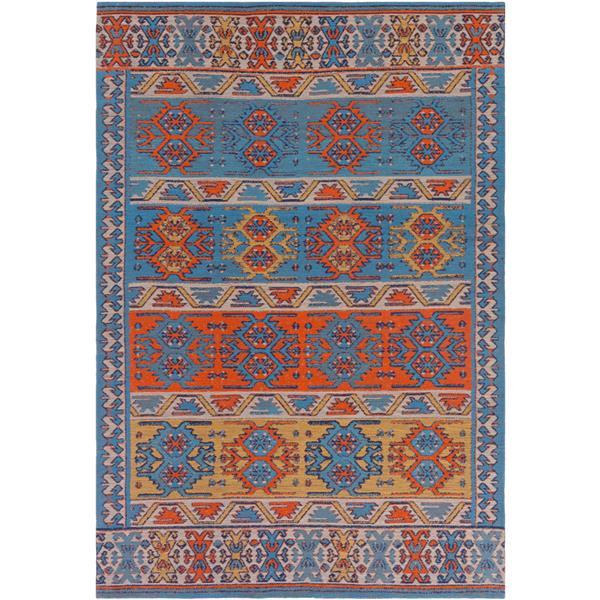 Surya Sajal Indoor/Outdoor Area Rug - 4-ft x 6-ft - Rectangular - Orange/Sky Blue