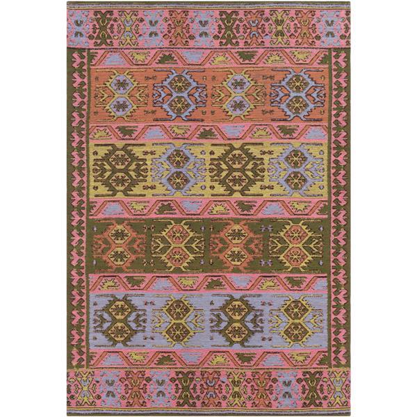Surya Sajal Indoor/Outdoor Area Rug - 4-ft x 6-ft - Rectangular - Green/Pink