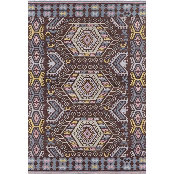 Surya Sajal Indoor/Outdoor Area Rug - 4-ft x 6-ft - Rectangular - Dark Brown/Pale Pink
