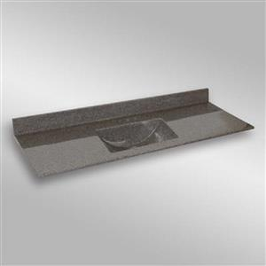 Dessus de meuble-lavabo simple The Marble Factory, 61 po x 22 po, granit gris