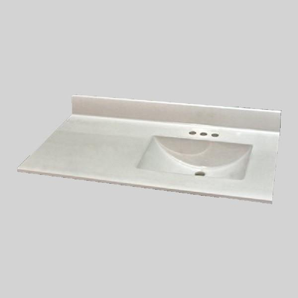 The Marble Factory Bathroom Vanity Top - Right-Hand Sink - 37-in x 22-in - White Engineered Marble