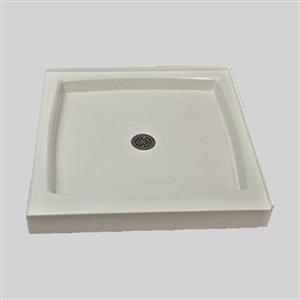 Base de douche à double seuil The Marble Factory, drain centré, 36 po x 36 po, blanche