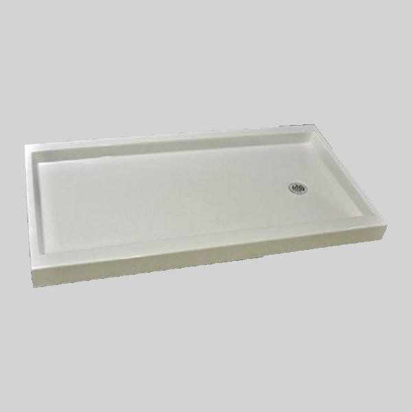 The Marble Factory Shower Base with Right-Hand Offset Drain - 60-in x 32-in - White