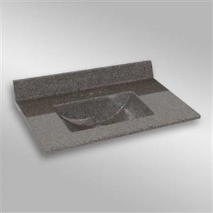 Dessus de meuble-lavabo simple The Marble Factory, 37 po x 22 po, granit gris