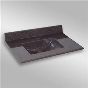 Dessus de meuble-lavabo simple The Marble Factory, 37 po x 22 po, granit brun