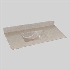 Dessus de meuble-lavabo simple The Marble Factory, 49 po x 22 po, granit beige