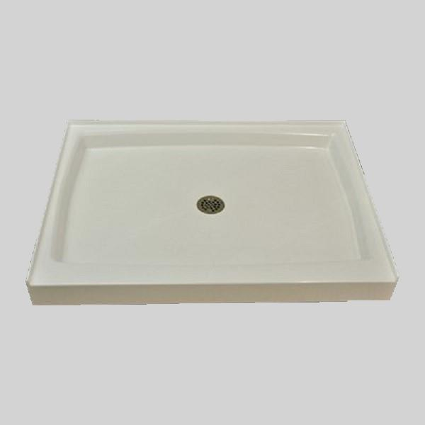 The Marble Factory Shower Base with Center Drain - 48-in x 36-in - White
