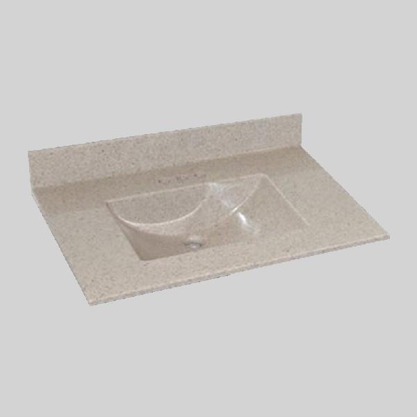 The Marble Factory Single-Bowl Vanity Top - 37-in x 22-in - Beige Granite