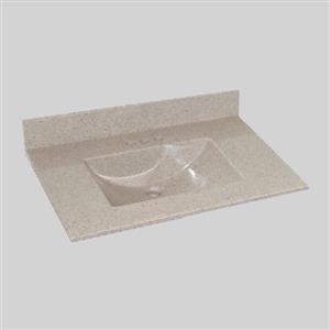 Dessus de meuble-lavabo simple The Marble Factory, 37 po x 22 po, granit beige