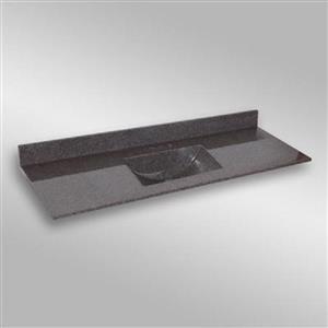 Dessus de meuble-lavabo simple The Marble Factory, 61 po x 22 po, granit gris foncé
