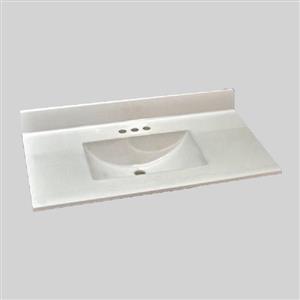 Dessus de meuble-lavabo simple en marbre d'ingénierie The Marble Factory, 37 po x 22 po, blanc