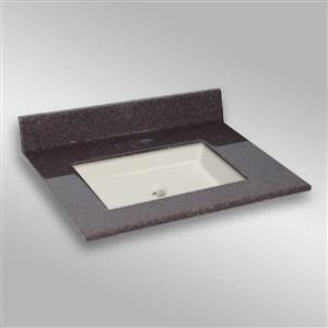 Dessus de meuble-lavabo simple The Marble Factory, 31 po x 22 po, granit brun