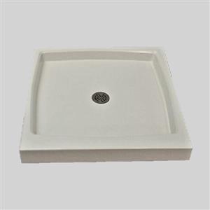 Base de douche à seuil unique The Marble Factory, drain centré, 36 po x 36 po, blanche