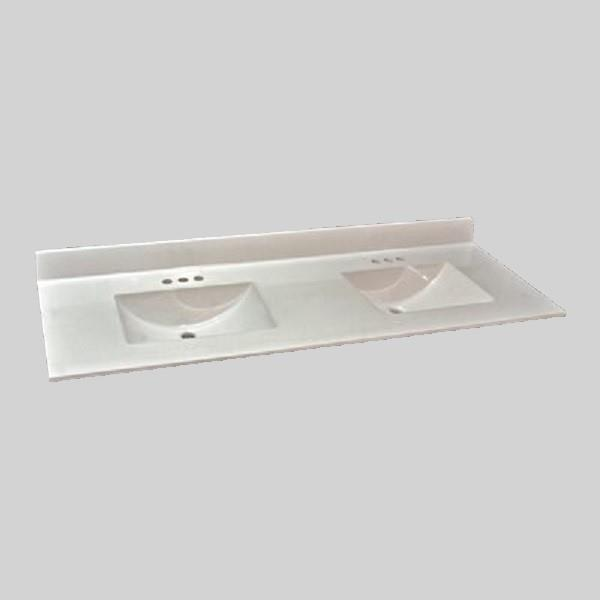 The Marble Factory Double-Bowl Vanity Top - 61-in x 22-in - Ultra-White Engineered Marble