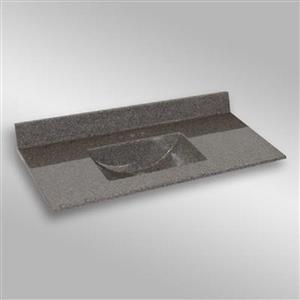 Dessus de meuble-lavabo simple The Marble Factory, 49 po x 22 po, granit gris