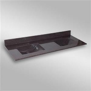 Dessus de meuble-lavabo double The Marble Factory, 61 po x 22 po, granit brun