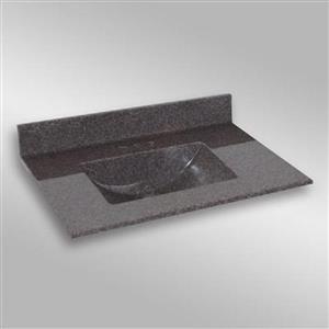 Dessus de meuble-lavabo simple The Marble Factory, 37 po x 22 po, granit gris foncé