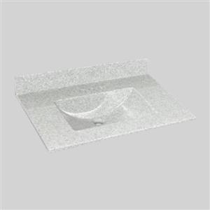 Dessus de meuble-lavabo simple The Marble Factory, 37 po x 22 po, granit blanc
