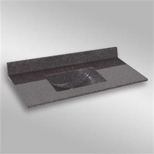Dessus de meuble-lavabo simple The Marble Factory, 49 po x 22 po, granit gris foncé