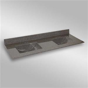 Dessus de meuble-lavabo double The Marble Factory, 61 po x 22 po, granit gris