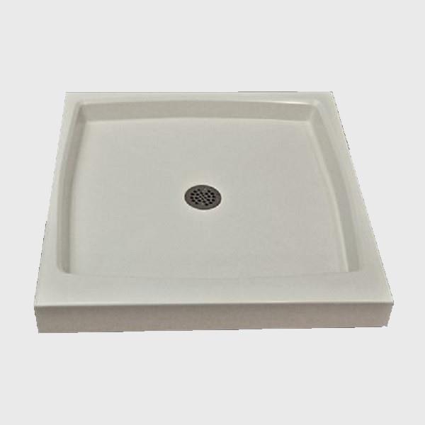 Base de douche à seuil unique The Marble Factory, drain centré, 32 po x 32 po, blanche