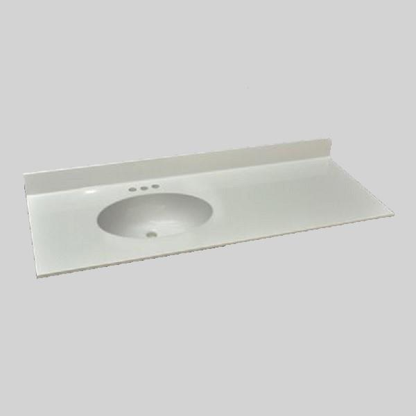 The Marble Factory Bathroom Vanity Top Left Hand Sink 49 In X 22 In White Engineered Marble Rona