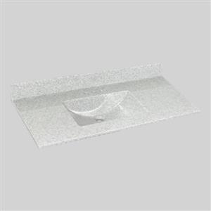 Dessus de meuble-lavabo simple The Marble Factory, 49 po x 22 po, granit blanc