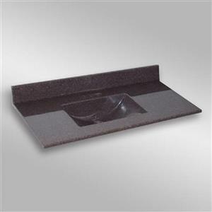 Dessus de meuble-lavabo simple The Marble Factory, 49 po x 22 po, granit brun
