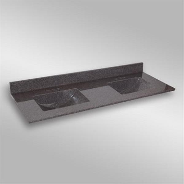 The Marble Factory Double-Bowl Vanity Top - 61-in x 22-in - Dark Grey Granite