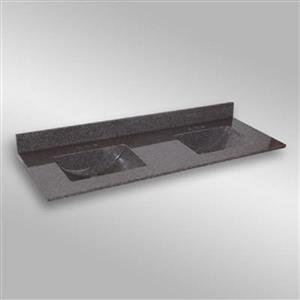 Dessus de meuble-lavabo double The Marble Factory, 61 po x 22 po, granit gris foncé