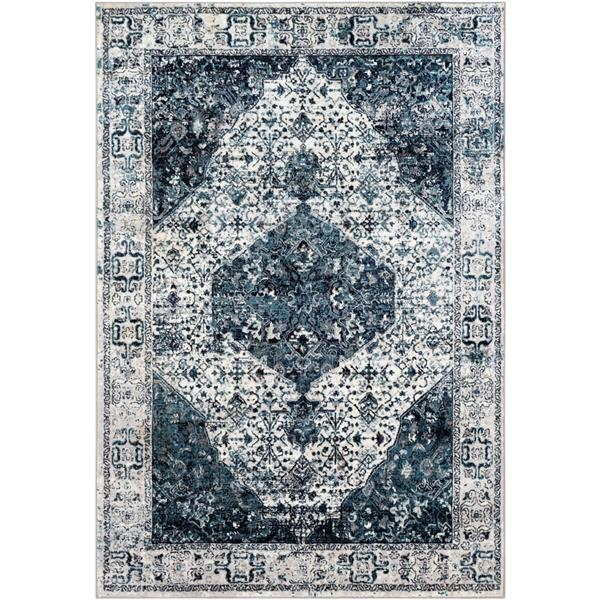 Surya Wanderlust Rectangular Transitional Area Rug - 6-ft 7-in x 9-ft - Aqua and Grey