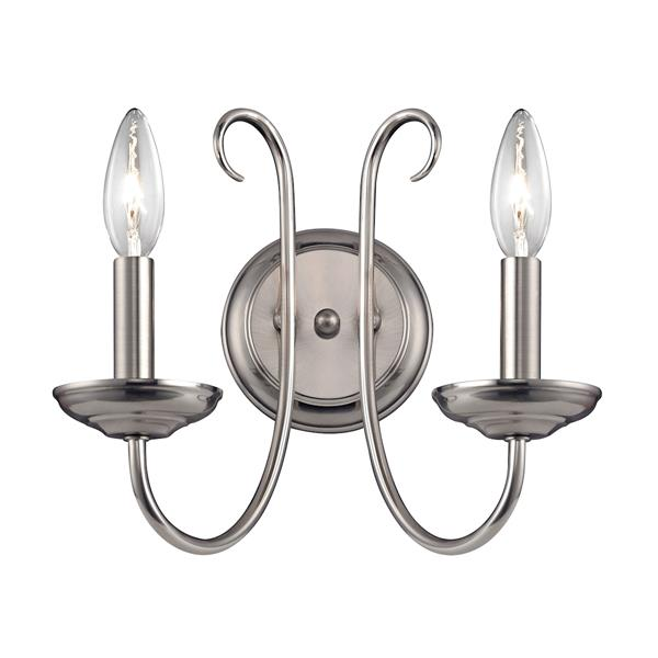Thomas Lighting Williamsport Wall Sconce - 2-Light - 12-in x 15.5-in - Brushed Nickel