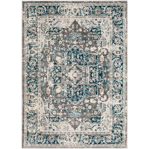 Surya Varanasi Updated Traditional Area Rug - 7-ft 10-in x 10-ft 3-in - Rectangular - Gray