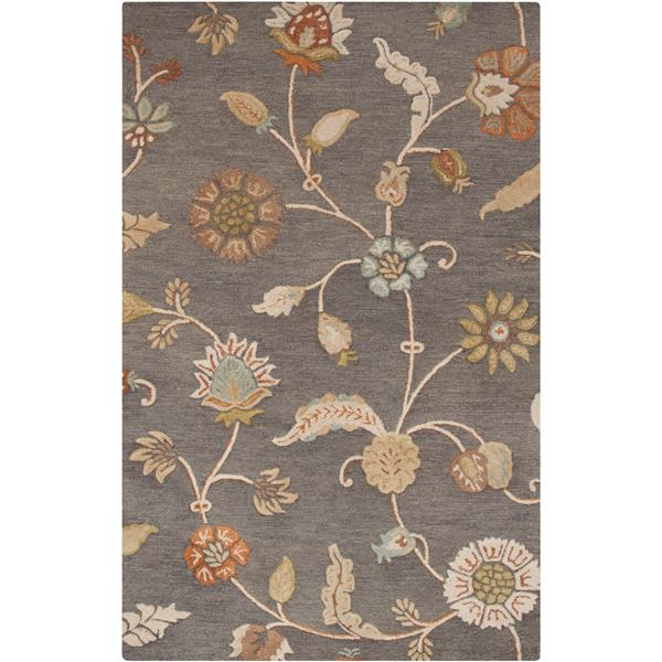 Surya Sprout Transitional Area Rug - 3-ft 3-in x 5-ft 3-in - Rectangular - Medium Gray