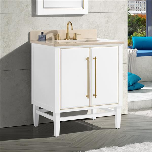 Avanity Mason Vanity - 31-in - Crema Marfill Marble Top - White/Gold