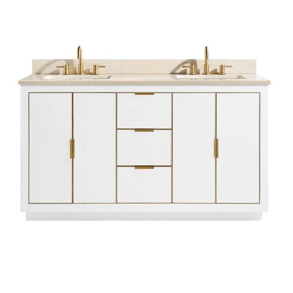 Avanity Austen Vanity - 61-in - Crema Marfil Marble Top - White/Gold