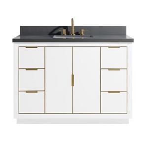 Avanity Austen Vanity - 49-in - Gray Quartz Top - White/Gold