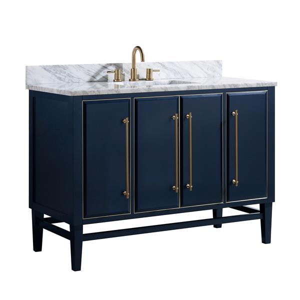 Avanity Mason Vanity - 49-in - Carrara White Marble Top - Navy Blue/Gold