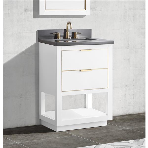 Avanity Allie Vanity - 25-in - Gray Quartz Top - White/Gold