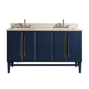 Avanity Mason Vanity - 61-in - Crema Marfil Marble Top - Navy Blue/Gold